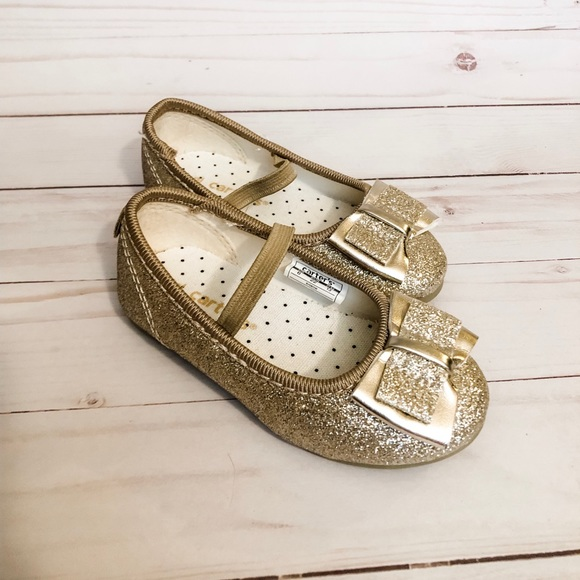 Carters Gold Ballet Flats Like New Size